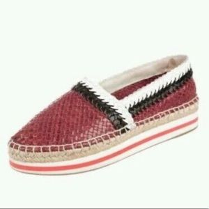 Prada Madras Woven Leather Platform Espadrilles